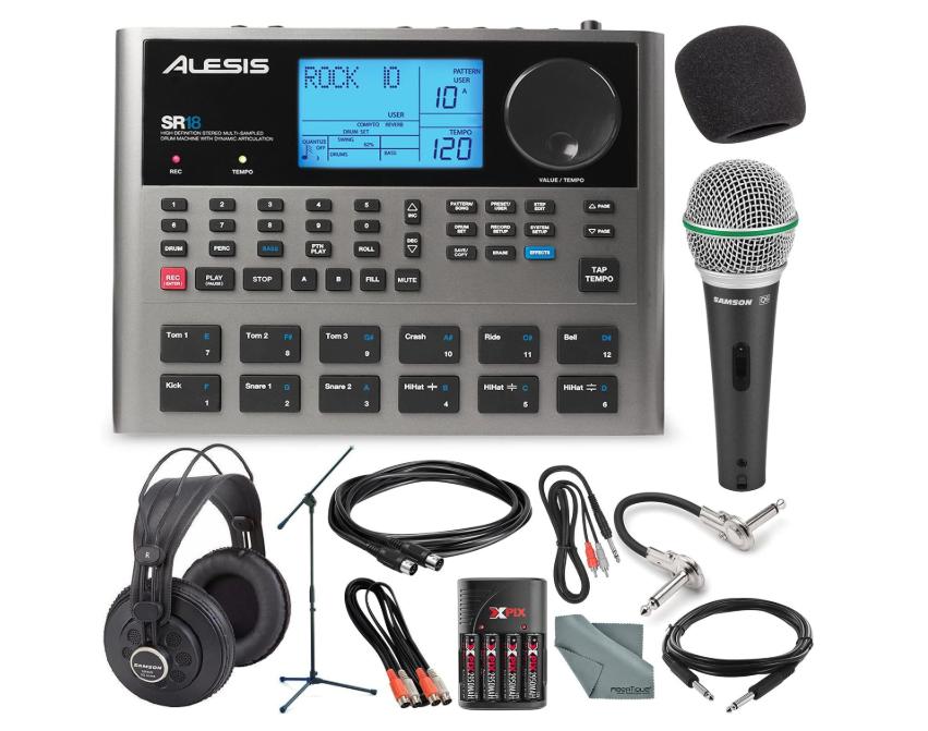 Alesis SR18 18 Bit Portable Drum Machine with Effects and Platinum Bundle