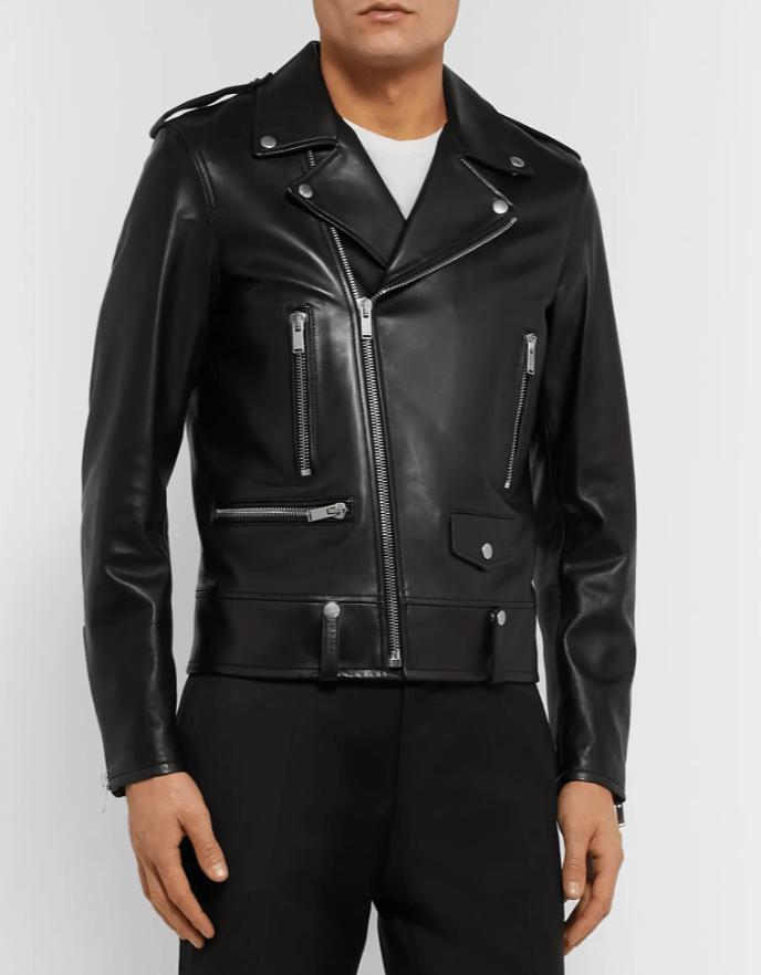 leather moto jacket saint laurent