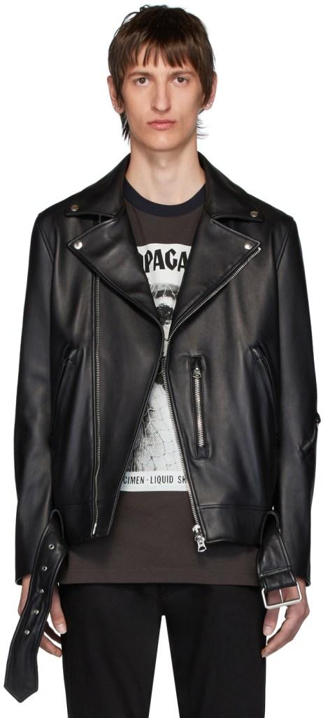 black leather jacket acne studios