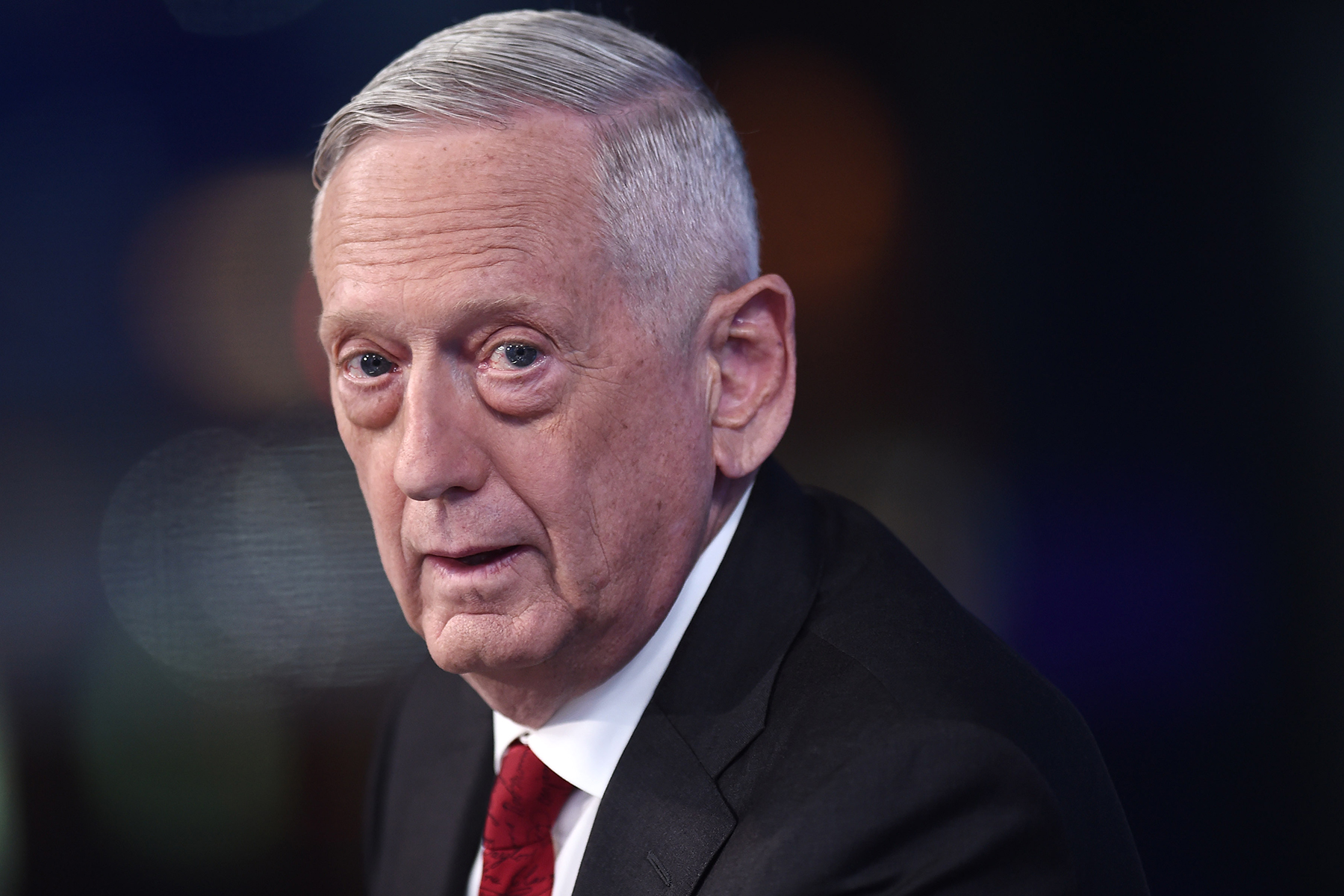 """NEW YORK, NEW YORK - SEPTEMBER 03: (EXCLUSIVE COVERAGE) Former U.S. Secretary of Defense James Mattis visits FOX News Channel's """"The Story with Martha MacCallum"""" on September 03, 2019 in New York City. (Photo by Steven Ferdman/Getty Images)"""