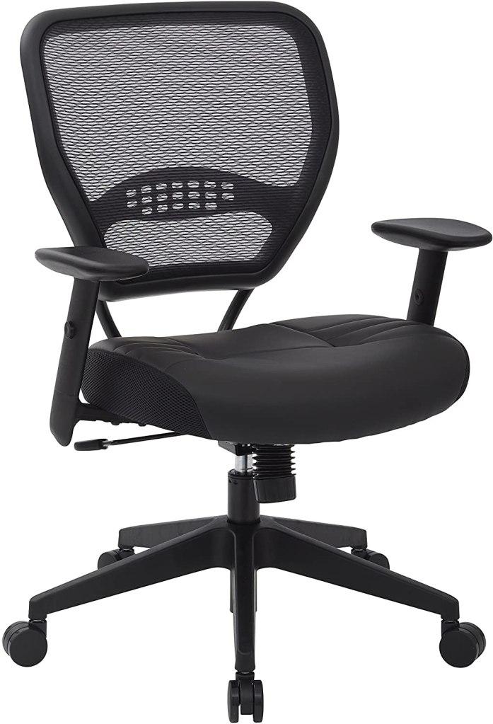 padded black leather seat