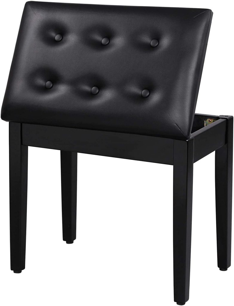 songmics padded wooden piano bench