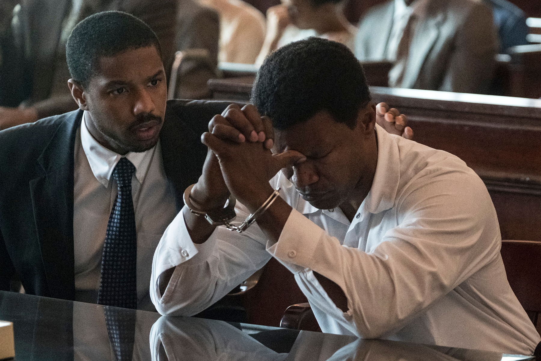 Editorial use only. No book cover usage.Mandatory Credit: Photo by Warner Bros/Kobal/Shutterstock (10510366h)Michael B. Jordan as Bryan Stevenson and Jamie Foxx as Walter McMillian'Just Mercy' Film - 2019Just Mercy shadows world-renowned civil rights defense attorney Bryan Stevenson as he recounts his experiences and details the case of a condemned death row prisoner whom he fought to free.