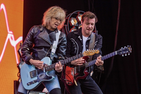 Chrissie Hynde (L) and James Walbourne from The Pretenders on stage at OverOslo on June 21, 2019 in Oslo, Norway.