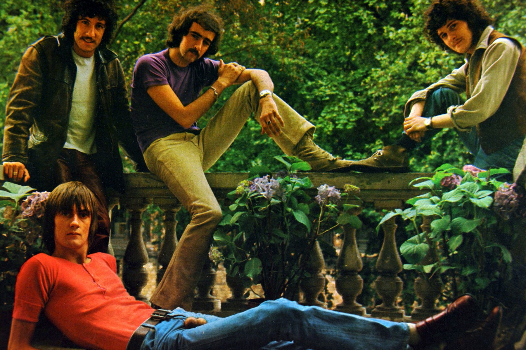 Photo of FLEETWOOD MAC; Grou portrait - Peter Green John McVie and Jeremy Spencer, Mick Fleetwood, front (Photo by GAB Archive/Redferns)