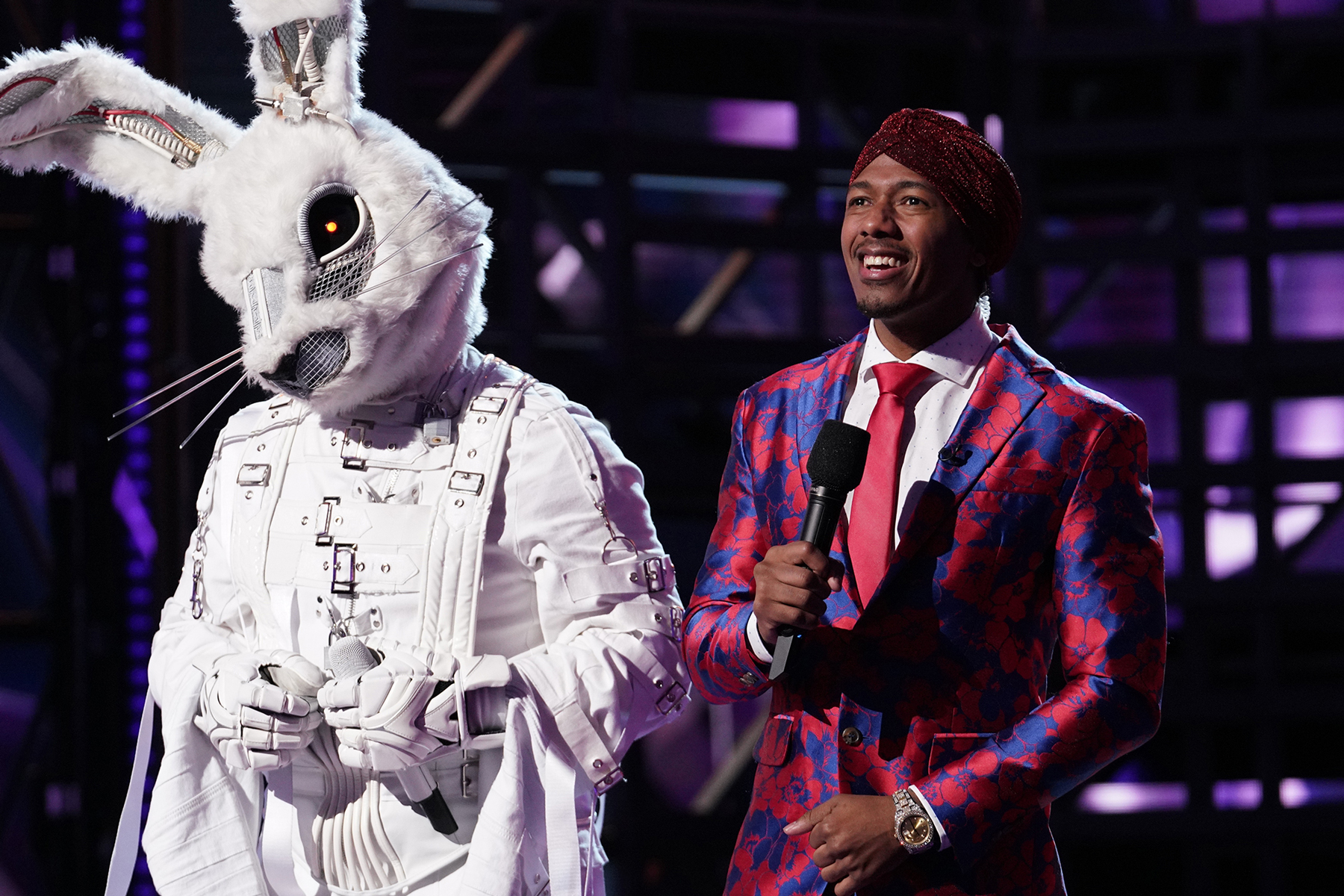 """THE MASKED SINGER: L-R: Rabbit and host Nick Cannon in the """"Another Mask Bites the Dust"""" airing Wednesday, Jan. 23 (9:00-10:00 PM ET/PT) on FOX. © 2019 FOX Broadcasting.  Cr: Michael Becker / FOX."""