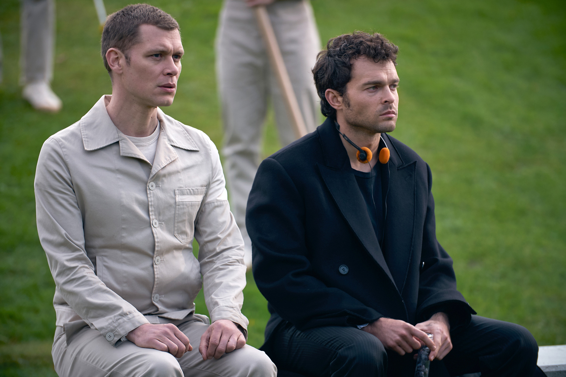 (l-r) Joseph Morgan as Cjack 60/57, Alden Ehrenreich as John the Savage.