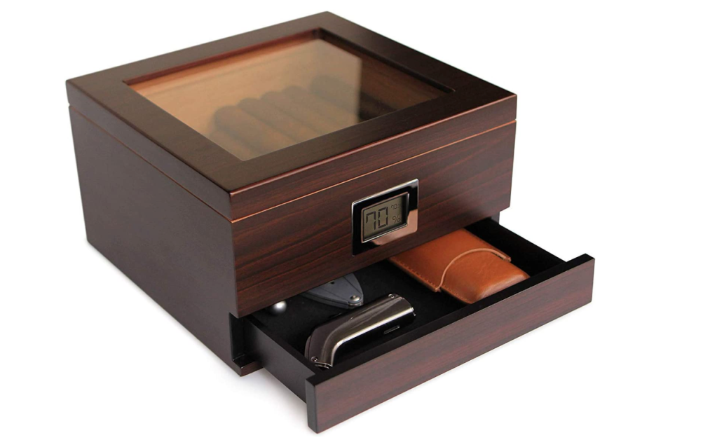 Glass Top Handcrafted Cedar Humidor with Front Digital Hygrometer