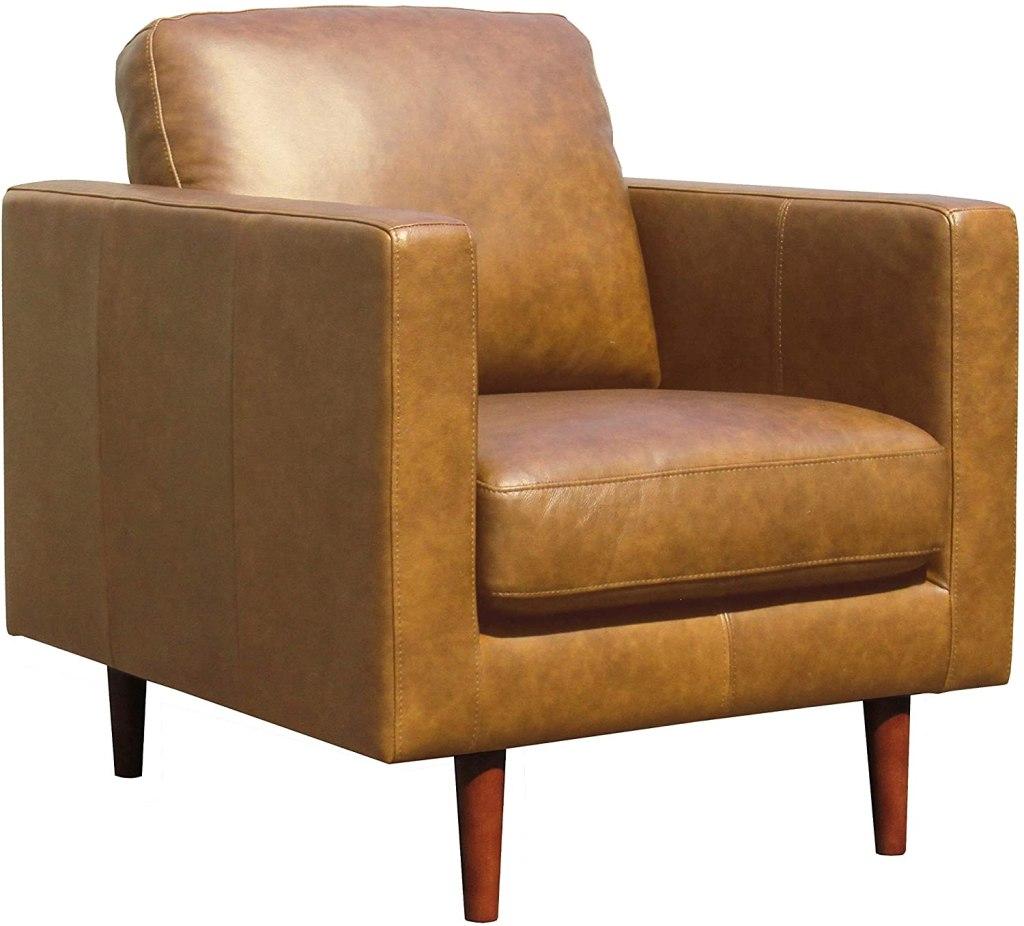 amazon rivet leather armchair midcentury