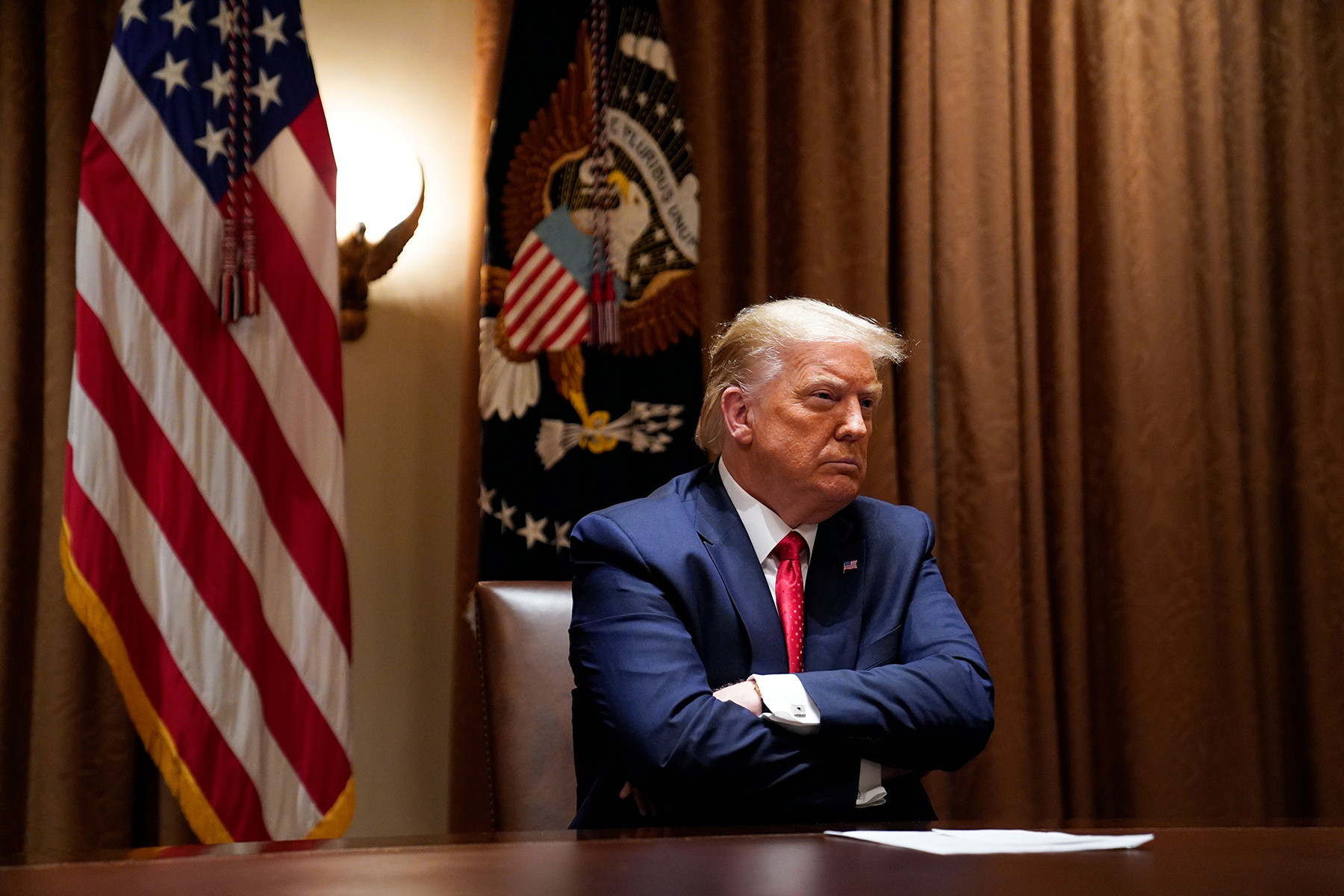 President Donald Trump in the Cabinet Room, July 9th, 2020.