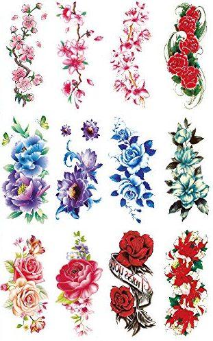 yakago 12 sheets flower temporary tattoo