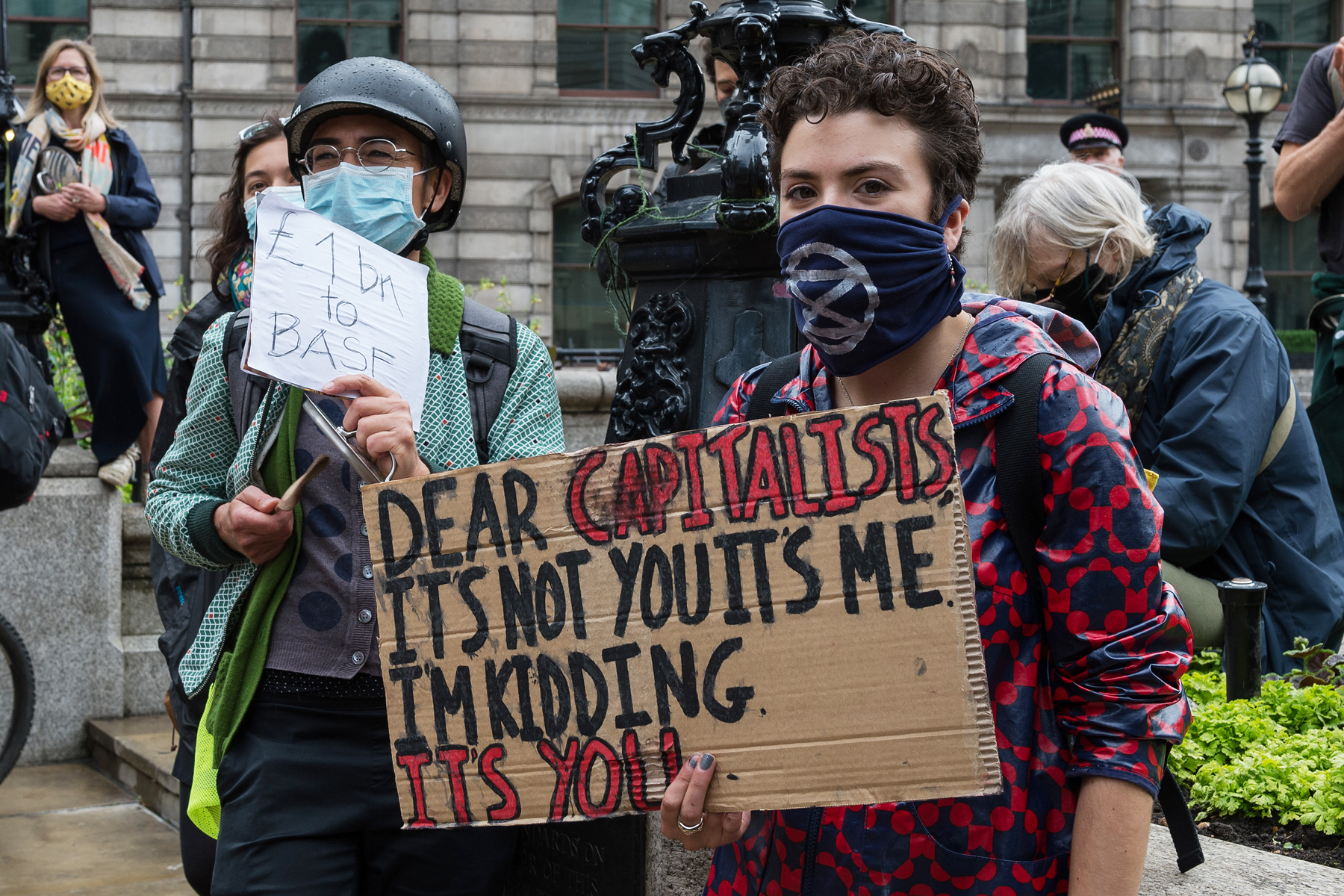 Extinction Rebellion environmental activists stage a loud demonstration outside the Bank of England to protest against the distribution of funds through the Covid Corporate Financing Facility to carbon intensive industries on July 2nd, 2020 in London, England.