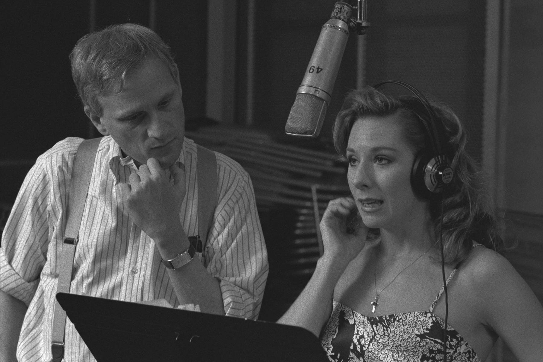 Howard Ashman and Paige O'Hara, in a scene from the Disney+ documentary 'Howard.'