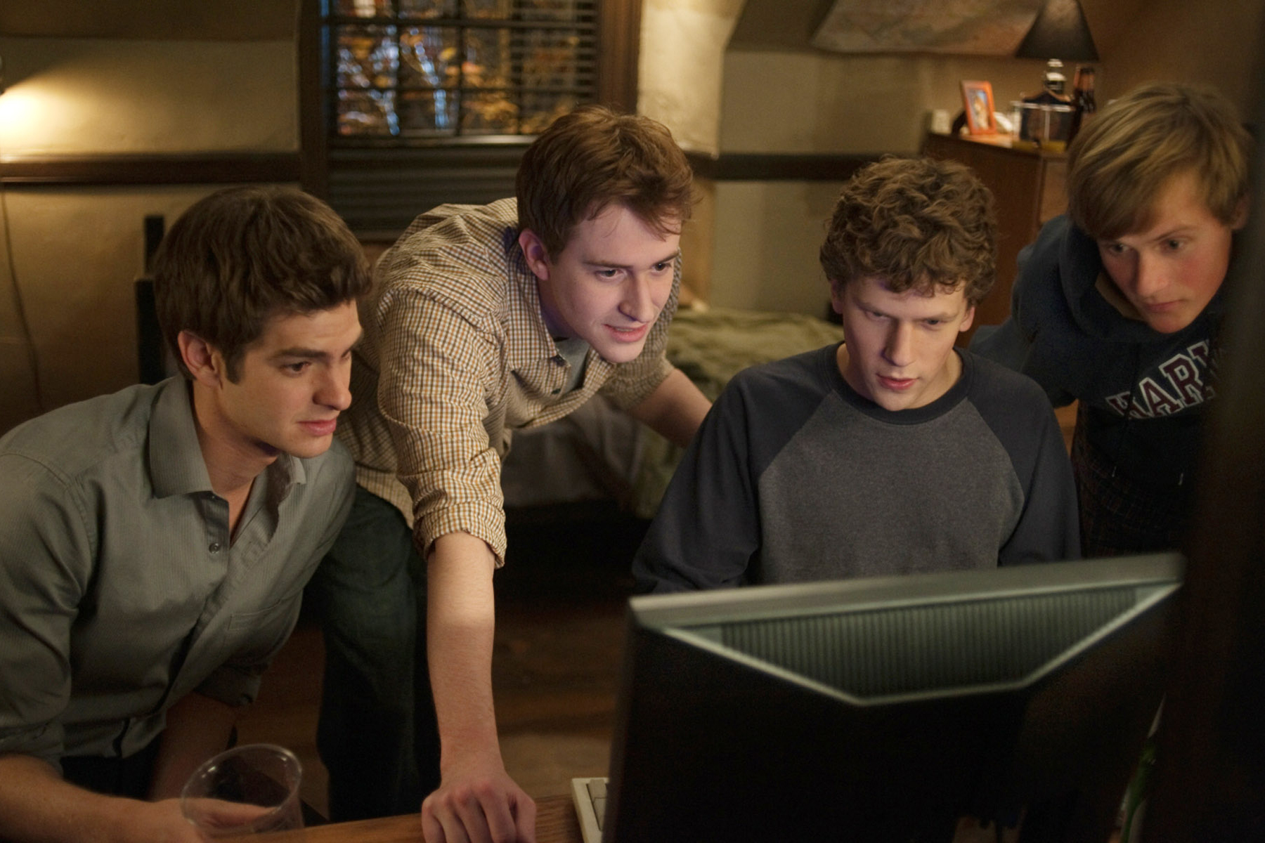 Jesse Eisenberg, second from right, in 'The Social Network.'