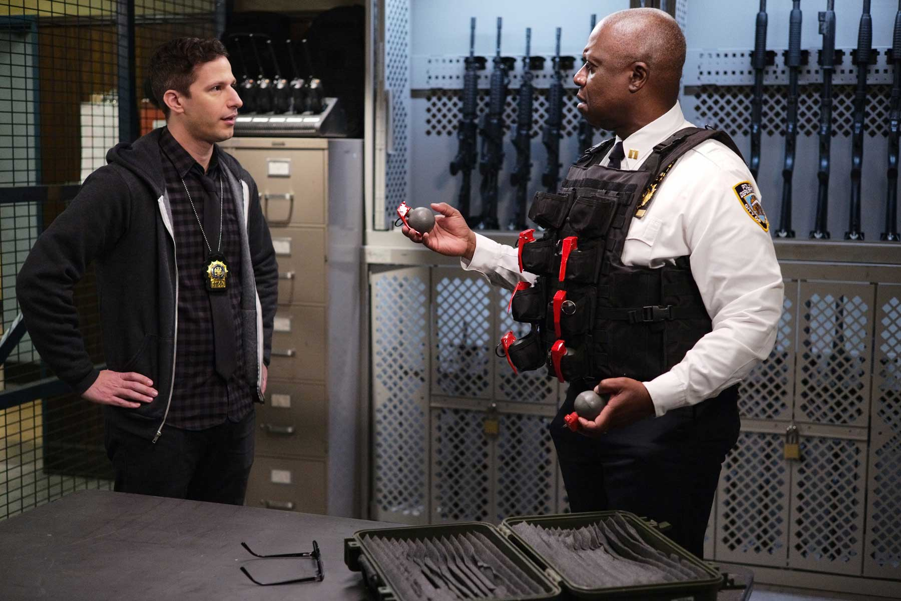 "BROOKLYN NINE-NINE -- ""Ransom"" Episode 712 -- Pictured: (l-r) Andy Samberg as Jake Peralta, Andre Braugher as Ray Holt -- (Photo by: Jordin Althaus/NBC)"
