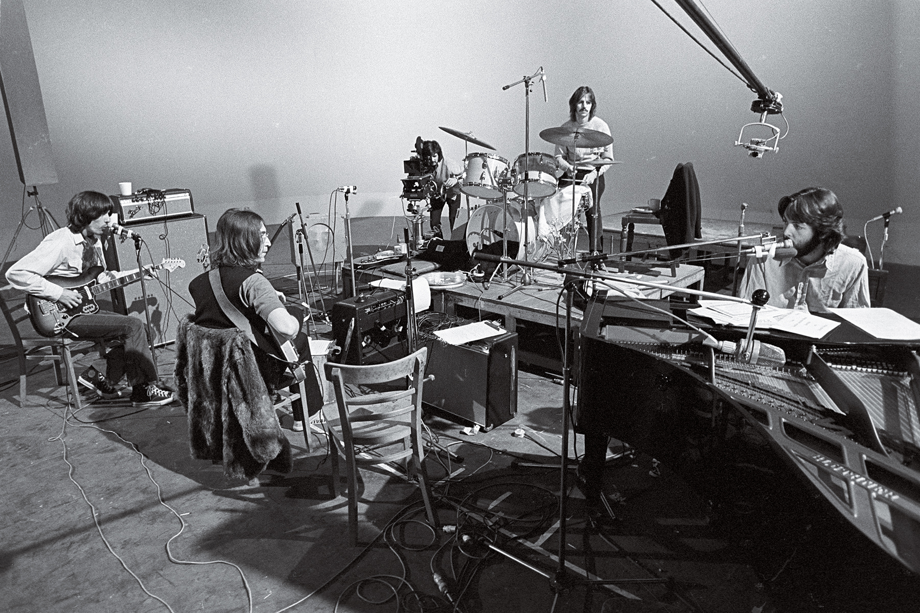 UNFRIENDLY CONFINES: The Beatles playing on camera for the Get Back project. They were stuck in Twickenham Film Studio rather than the more familiar — and comfortable — Abbey Road.