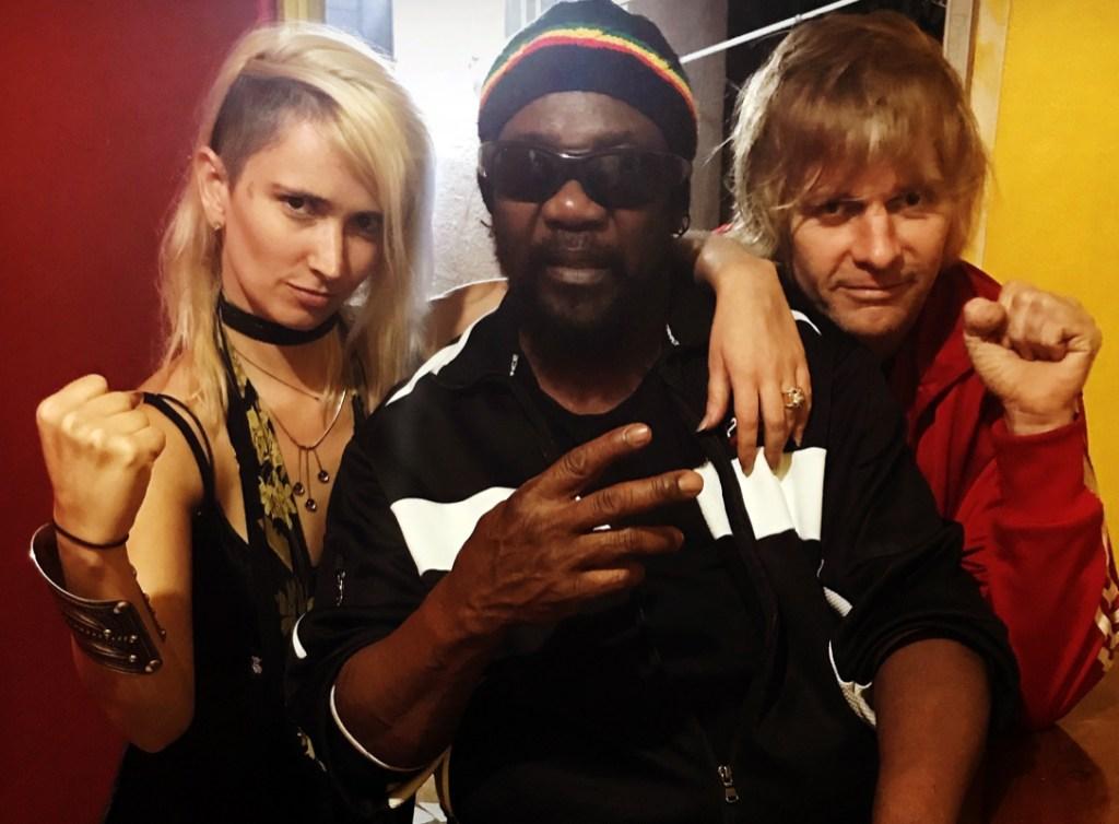 "Hibbert with Sharna ""Sshh"" Liguz and Zak Starkey, recording ""Got to Be Tough"""