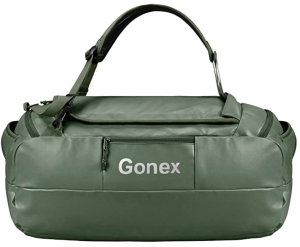 green bag camping backpack duffel