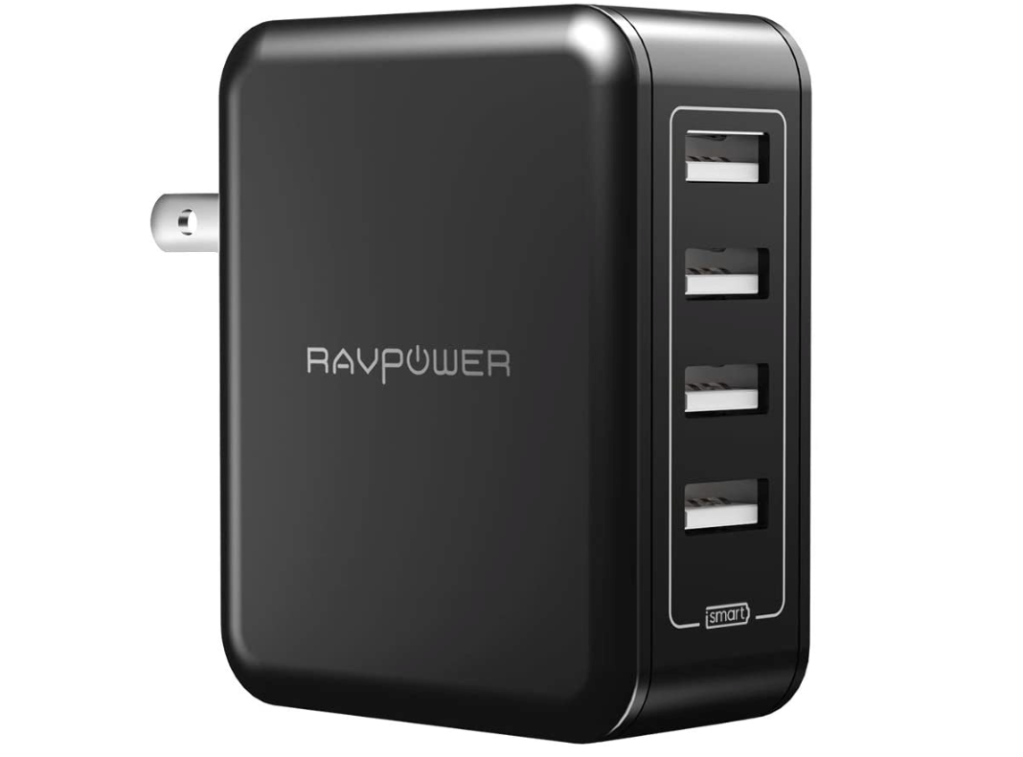 RAVPower USB Wall Charger 40W 8A 4-Port Multi-Port Travel Charger Charging Station