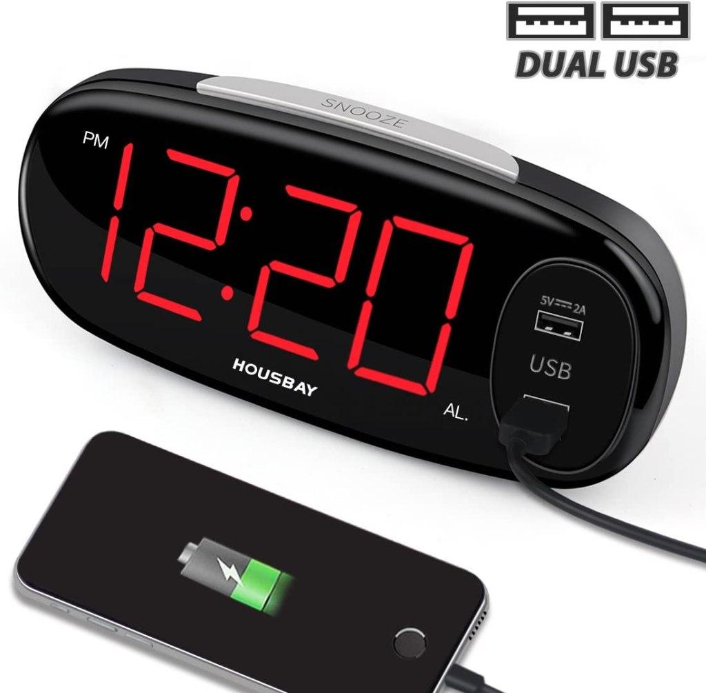 housbay digital alarm clock usb charger