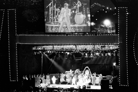 Roger Daltrey, lead singer of the British rock group The Who, appears on a giant video screen in the outfield of Shea Stadium in New York, October13, 1982, as the band tours for the last time in America. (AP Photo/Paul Burnett)