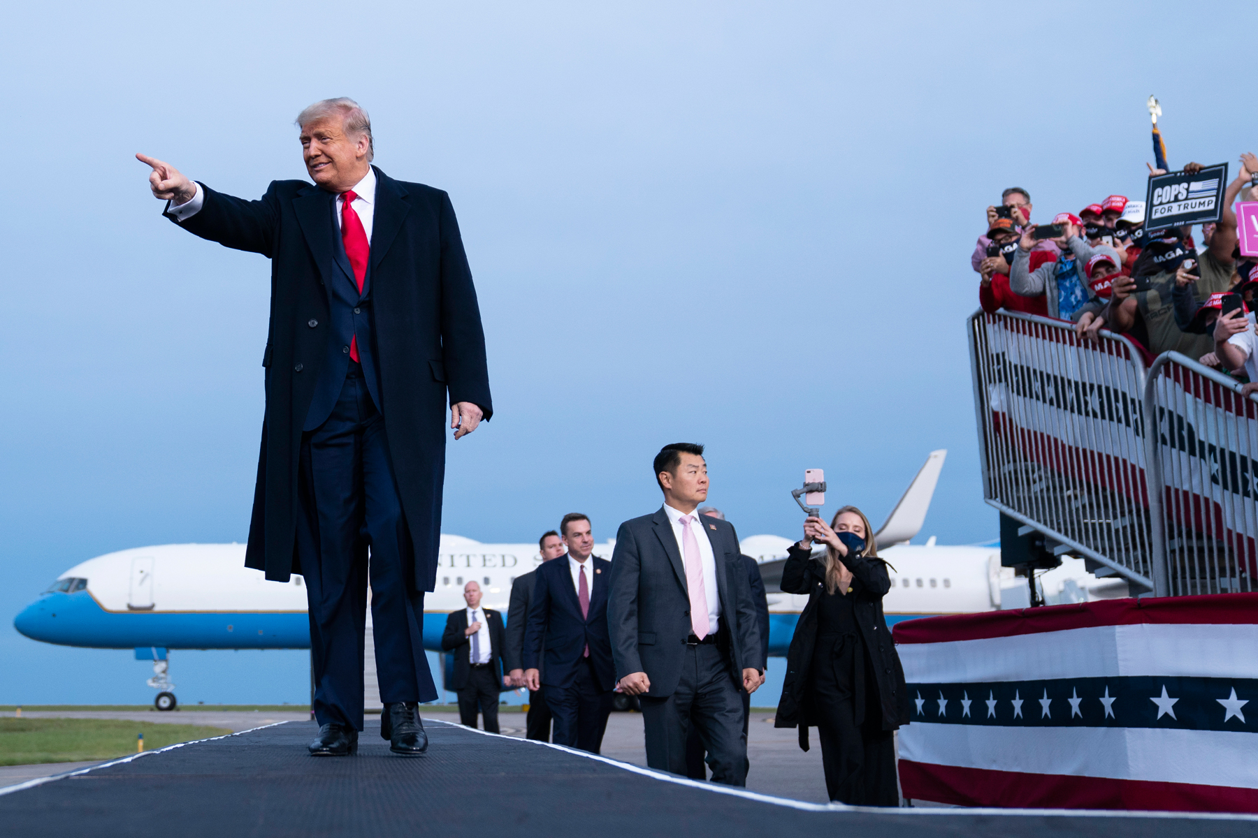 President Donald Trump arrives for a campaign rally at Fayetteville Regional Airport, Saturday, Sept. 19, 2020, in Fayetteville, N.C. (AP Photo/Evan Vucci)