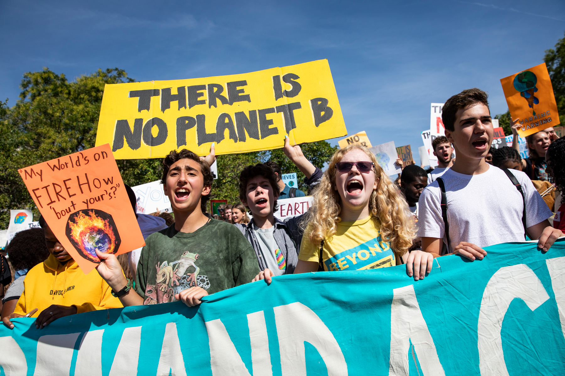 Activists gather in John Marshall Park for the Global Climate Strike protests on September 20, 2019 in Washington, United States.