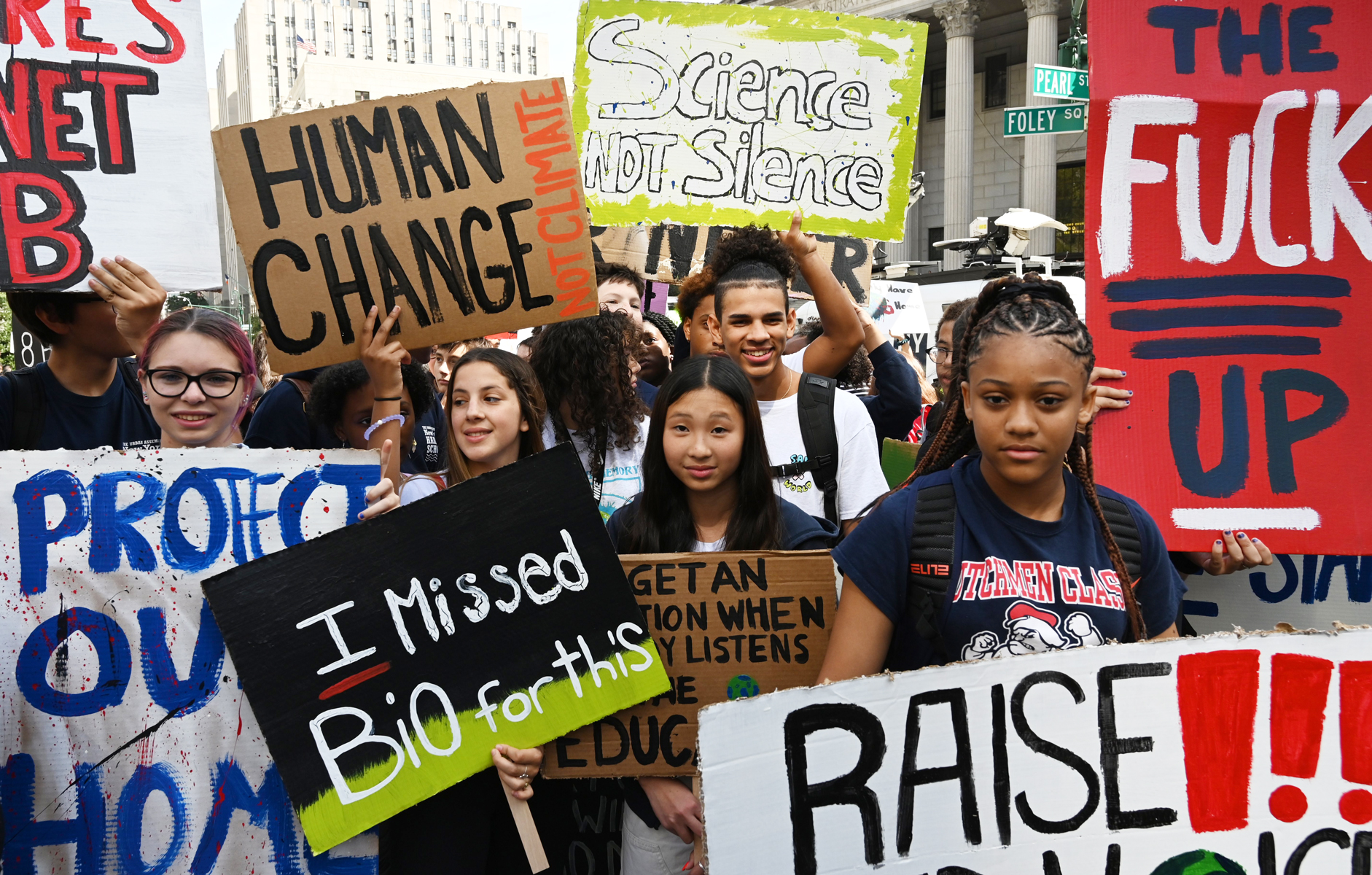 People gather during the Global Climate Strike march at Foley Square in New York September 20, 2019.
