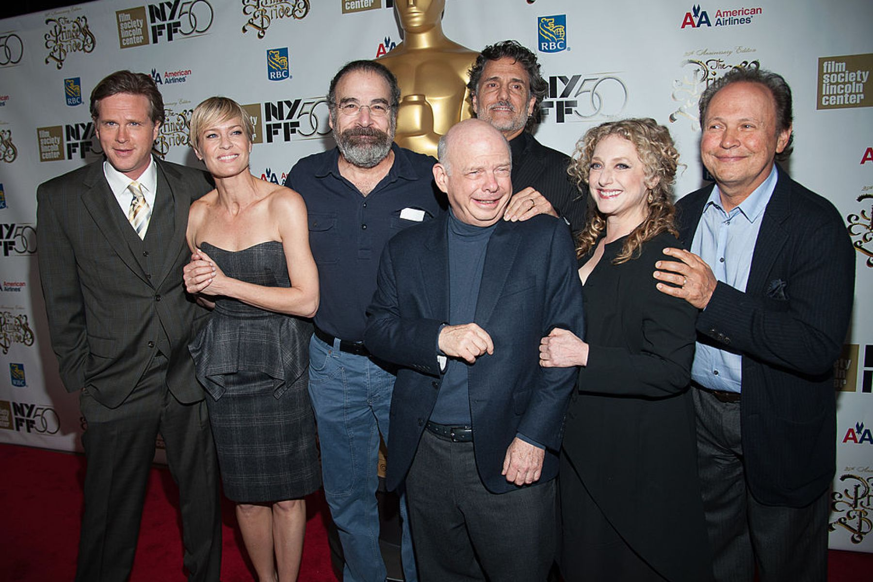 """NEW YORK, NY - OCTOBER 02:  (L-R) Cary Elwes, Robin Wright, Rob Reiner, Chris Sarandon, Wallace Shawn, Carol Kane, and Billy Crystal attend the 25th Anniversary Screening & Cast Reunion Of """"The Princess Bride"""" during the 50th annual New York Film Festival at Alice Tully Hall on October 2, 2012 in New York City.  (Photo by Dave Kotinsky/WireImage)"""