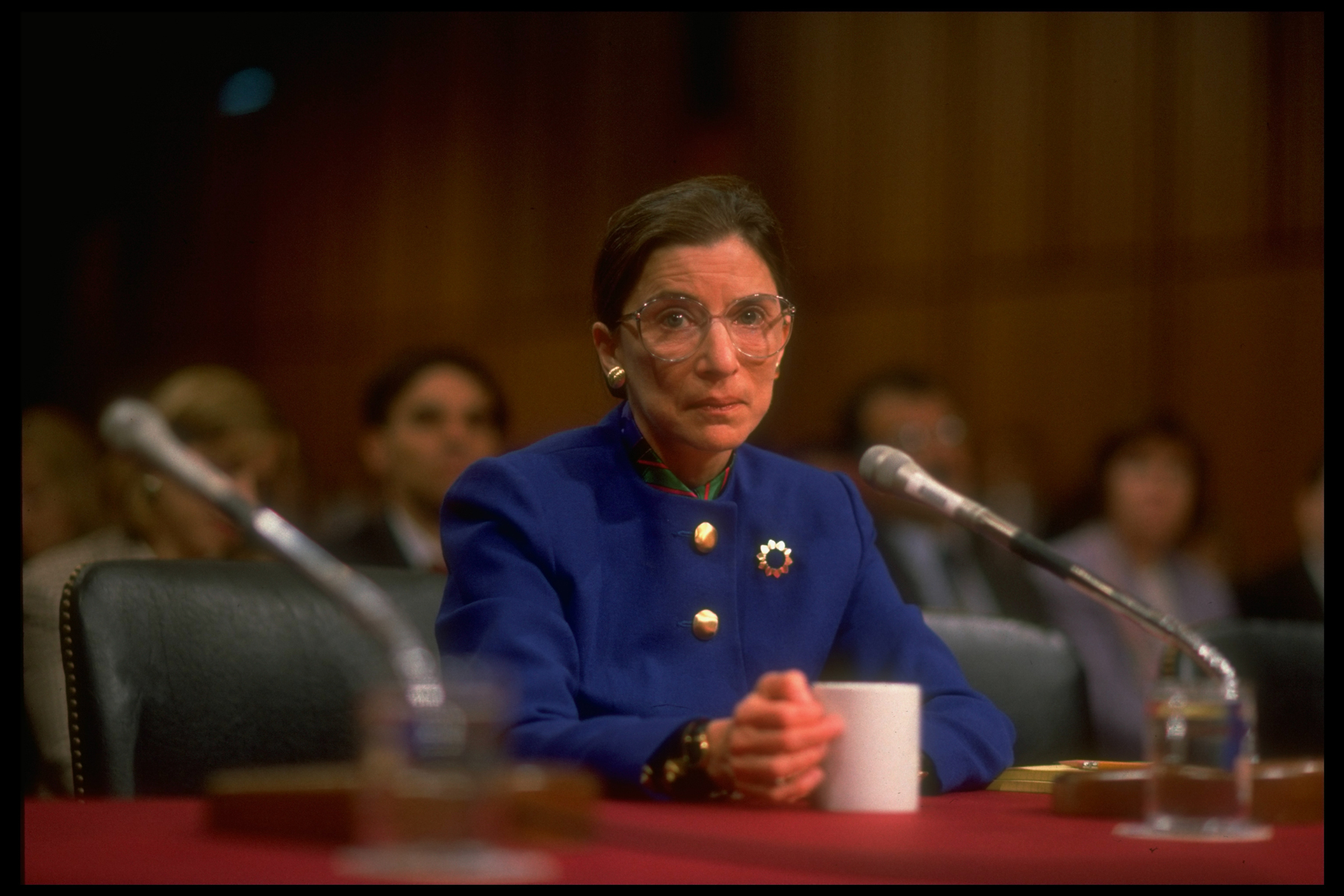 Supreme Court Justice nominee Ruth Bader Ginsburg testifying before Sen. Judiciary Comm. in her Capitol Hill confirmation hearing, 1993.