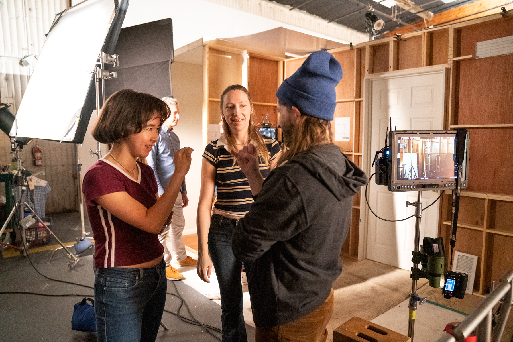 "PEN15 -- ""Maura"" - Episode 204 -- Witnessing their daughters reach a new low, Kathy and Yuki rally around them. At school, Maya and Anna receive an opportunity at redemption but it will come with a range of influences. Maya (Maya Erskine), Anna (Anna Konkle), Director Sam Zvibleman, shown. (Photo by: Lara Solanki/Hulu)"