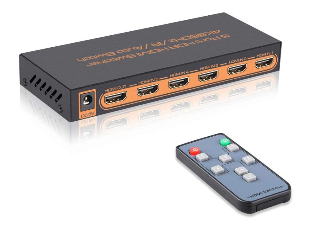 SkyCropHD 4K@60Hz 5 Port HDMI Switch with Remote