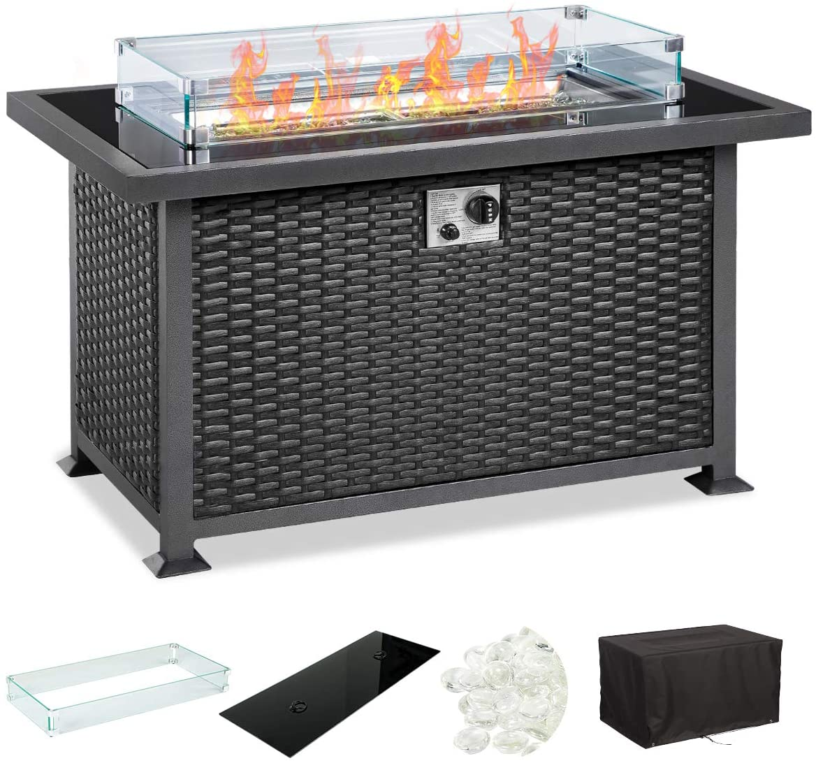 U-MAX 44in Outdoor Propane Gas Fire Pit Table