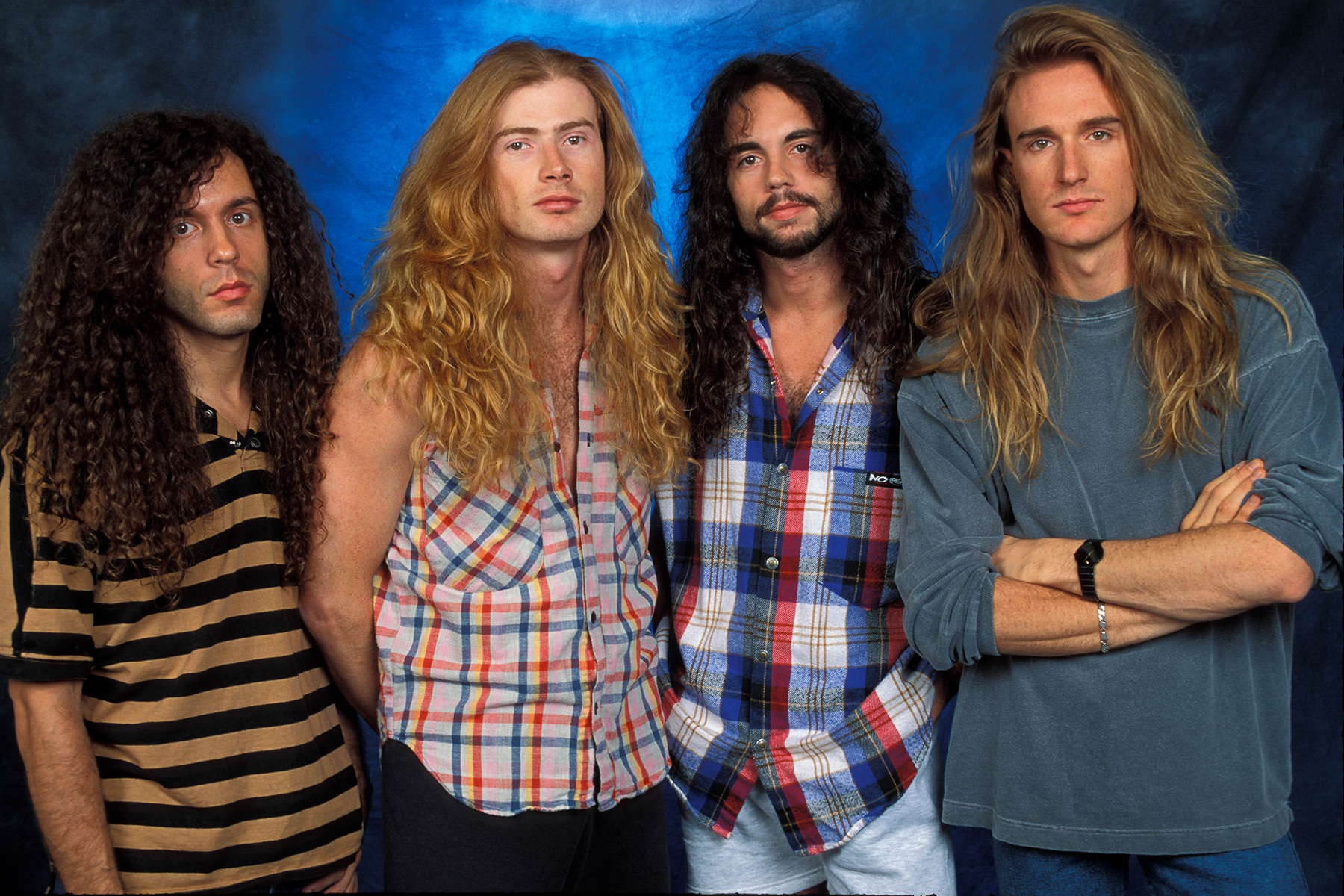 UNSPECIFIED - JANUARY 01:  STUDIO  Photo of David Ellefson and Dave MUSTAINE and Marty FRIEDMAN and MEGADETH, L-R: Marty Friedman, Dave Mustaine, Nick Menza, David Ellefson  (Photo by Mick Hutson/Redferns)