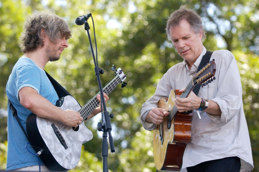 AUSTIN TX - SEPTEMBER 23: Mike Gordon (L) and Leo Kottke perform at Zilker Park as part of the Austin City Limits Music Festival on September 23, 2005 in Austin Texas. (Photo by Tim Mosenfelder/Getty Images)