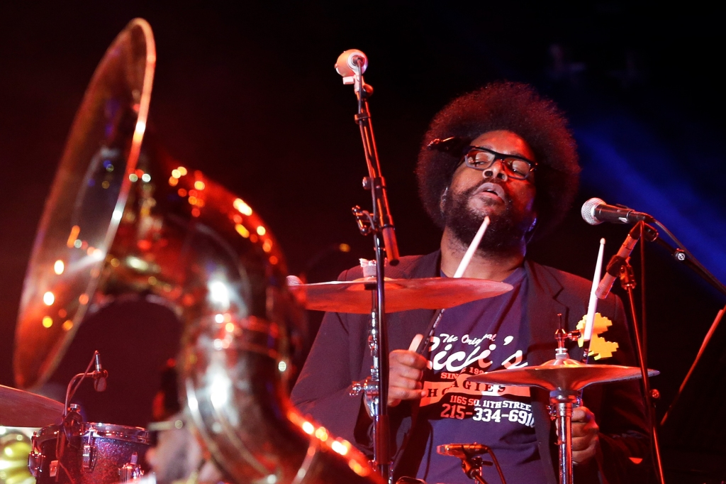 "The Roots' Ahmir ""Questlove"" Thompson performs during an Independence Day celebration Saturday, July 4, 2015, in Philadelphia. (AP Photo/Matt Rourke)"