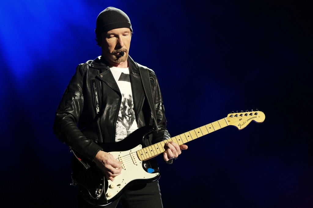 "EAST RUTHERFORD, NJ - JUNE 28: The Edge of U2 performs during ""The Joshua Tree Tour 2017"" at MetLife Stadium on June 28, 2017 in East Rutherford, New Jersey. (Photo by Taylor Hill/FilmMagic)"