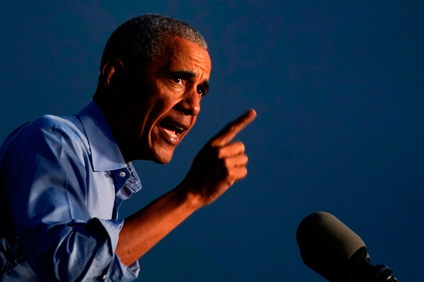 Former US President Barack Obama addresses Biden-Harris supporters during a drive-in rally in Philadelphia, Pennsylvania on October 21, 2020. - Former US president Barack Obama hit the campaign trail for Joe Biden today in a bid to drum up support for his former vice president among young Americans and Black voters in the final stretch of the White House race. (Photo by Alex Edelman / AFP) (Photo by ALEX EDELMAN/AFP via Getty Images)