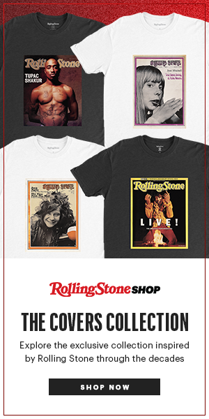 Set of four t-shirts wit classic Rolling Stone covers on them. Text reads 'Rolling Stone Shop, The Covers Collection. Explore the exclusive collection inspired by Rolling Stone through the decades'