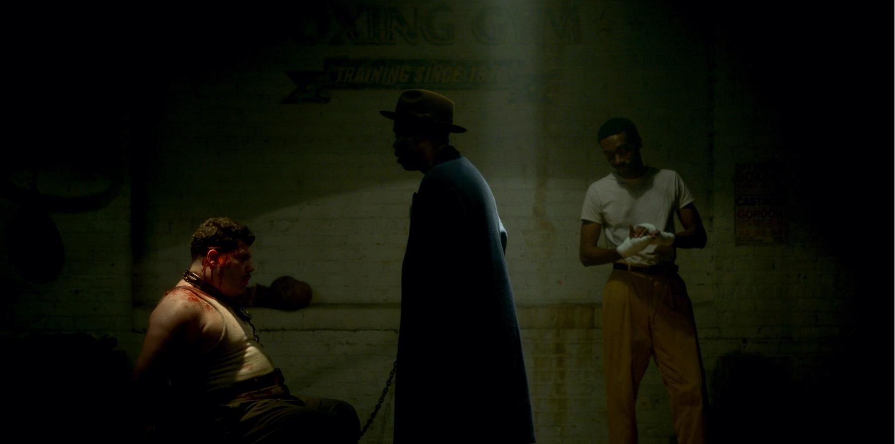 "FARGO -- ""Camp Elegance"" - Year 4, Episode 6 (Airs October 25) Pictured: Salvatore Esposito as Gaetano Fadda, Chris Rock as Loy Cannon, Corey Hendrix as Omie Sparkman. CR: Elizabeth Morris/FX"