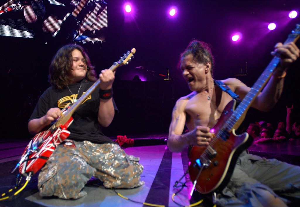 Wolfgang Van Halen and Eddie Van Halen of Van Halen (Photo by KMazur/WireImage for Van Halen)