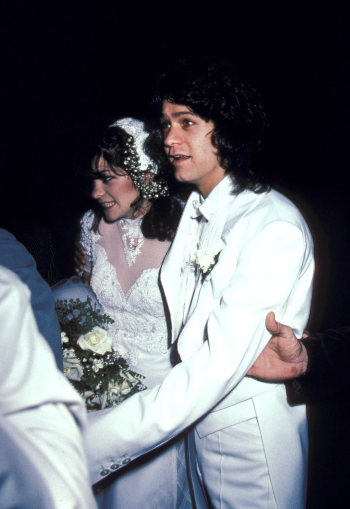 Valerie Bertinelli and Eddie Van Halen during Wedding of Eddie Van Halen and Valerie Bertinelli at St. Paul's Catholic Church in Westwood, California, United States. (Photo by Ron Galella/Ron Galella Collection via Getty Images)