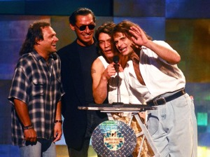 David Lee Roth, Michael Van Halen, Eddie Van Halen and Alex Van Halen (Photo by Jeff Kravitz/FilmMagic, Inc)