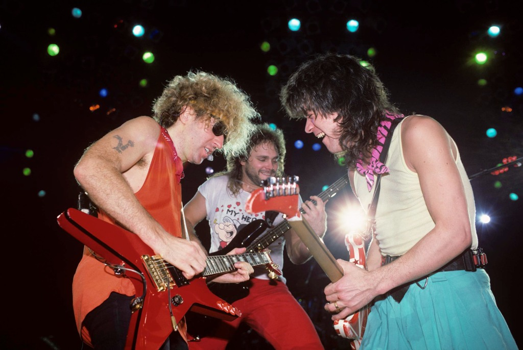 (MANDATORY CREDIT Ebet Roberts/Getty Images) Sammy Hagar, Michael Anthony and Eddie Van Halen performing with Van Halen at the Memphis Colliseum in Memphis, Tennessee on March 29, 1986. (Photo by Ebet Roberts/Redferns)