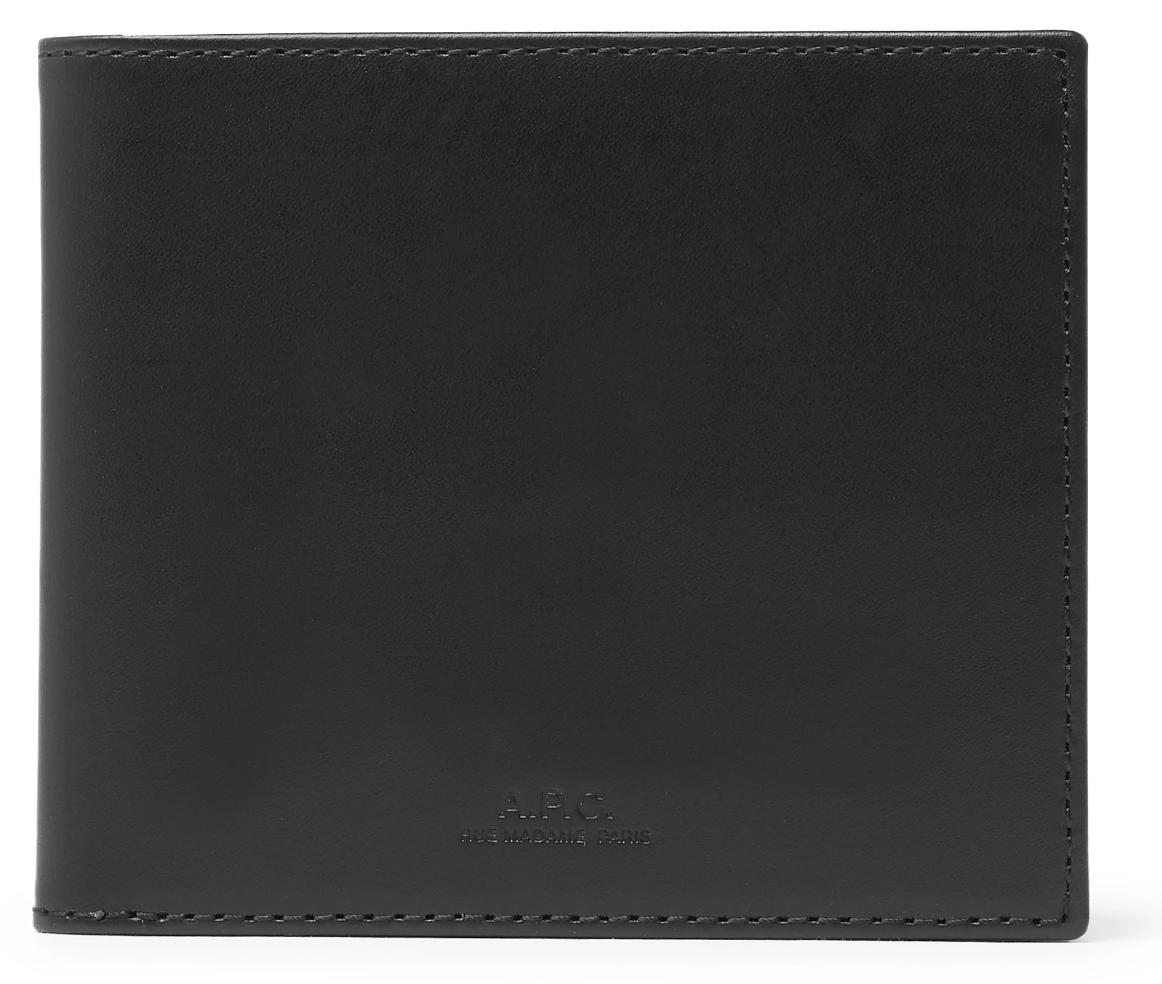 black leather wallet men's designer