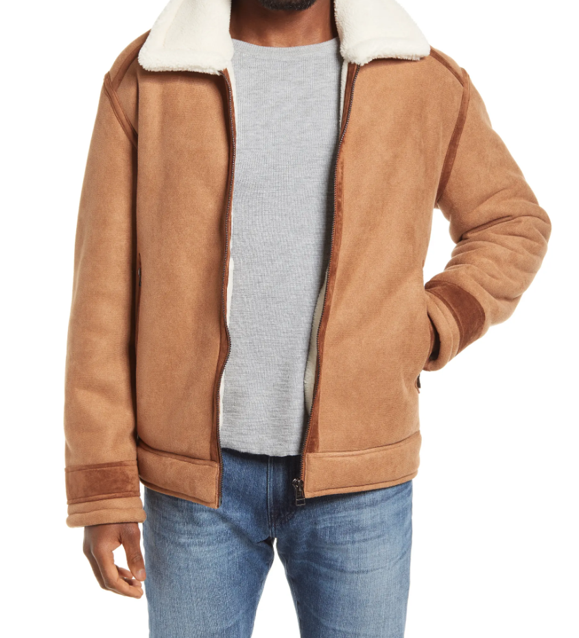 sherpa lined jacket suede
