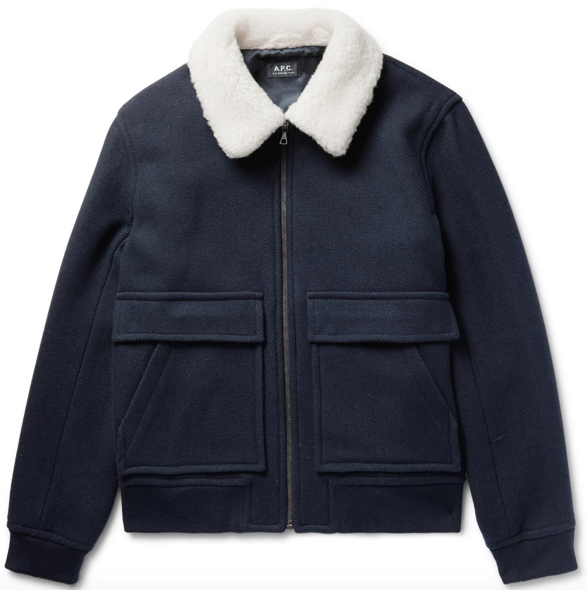 wool jacket mens shearling collar