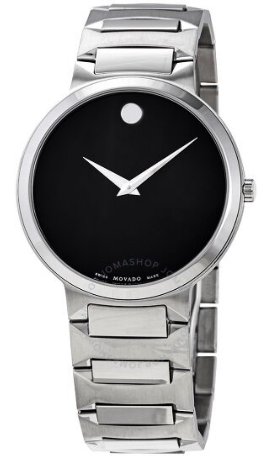 silver watch mens minimal movado