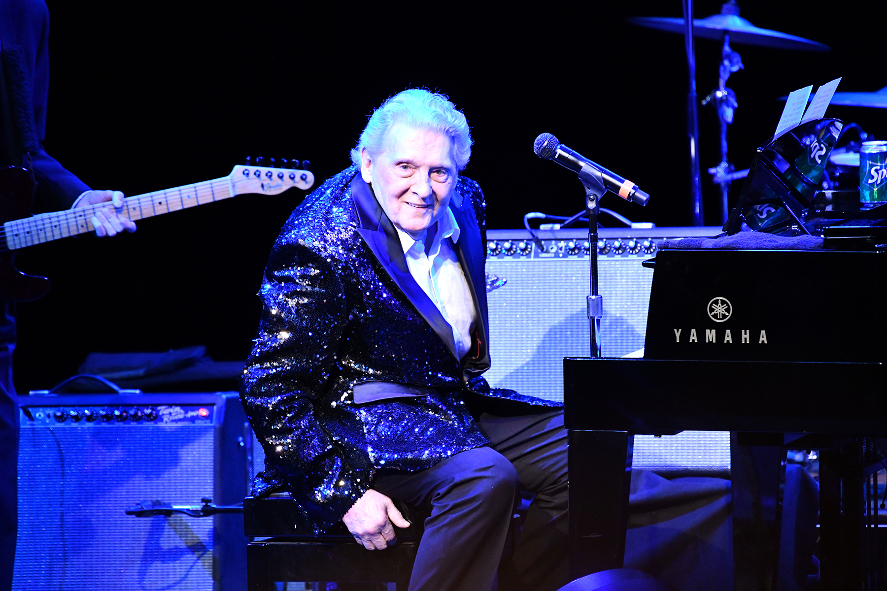 CERRITOS, CALIFORNIA - NOVEMBER 17: Rock and Roll Hall of Fame musician Jerry Lee Lewis performs onstage at Cerritos Center for the Performing Arts on November 17, 2018 in Cerritos, California. (Photo by Scott Dudelson/Getty Images)