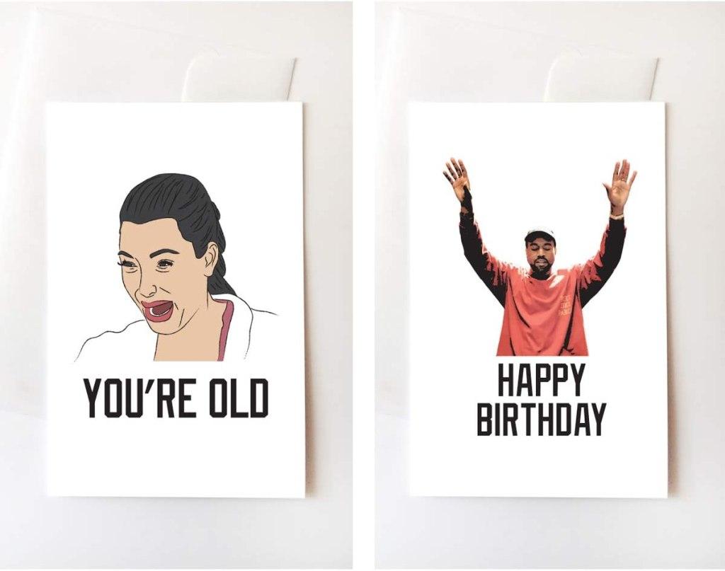 Kim Kardashian West and Kanye West cards